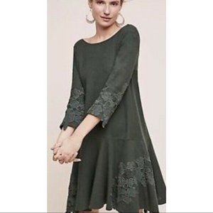 Anthro Maeve Green Lace Trimmed Cotton Linen Dress